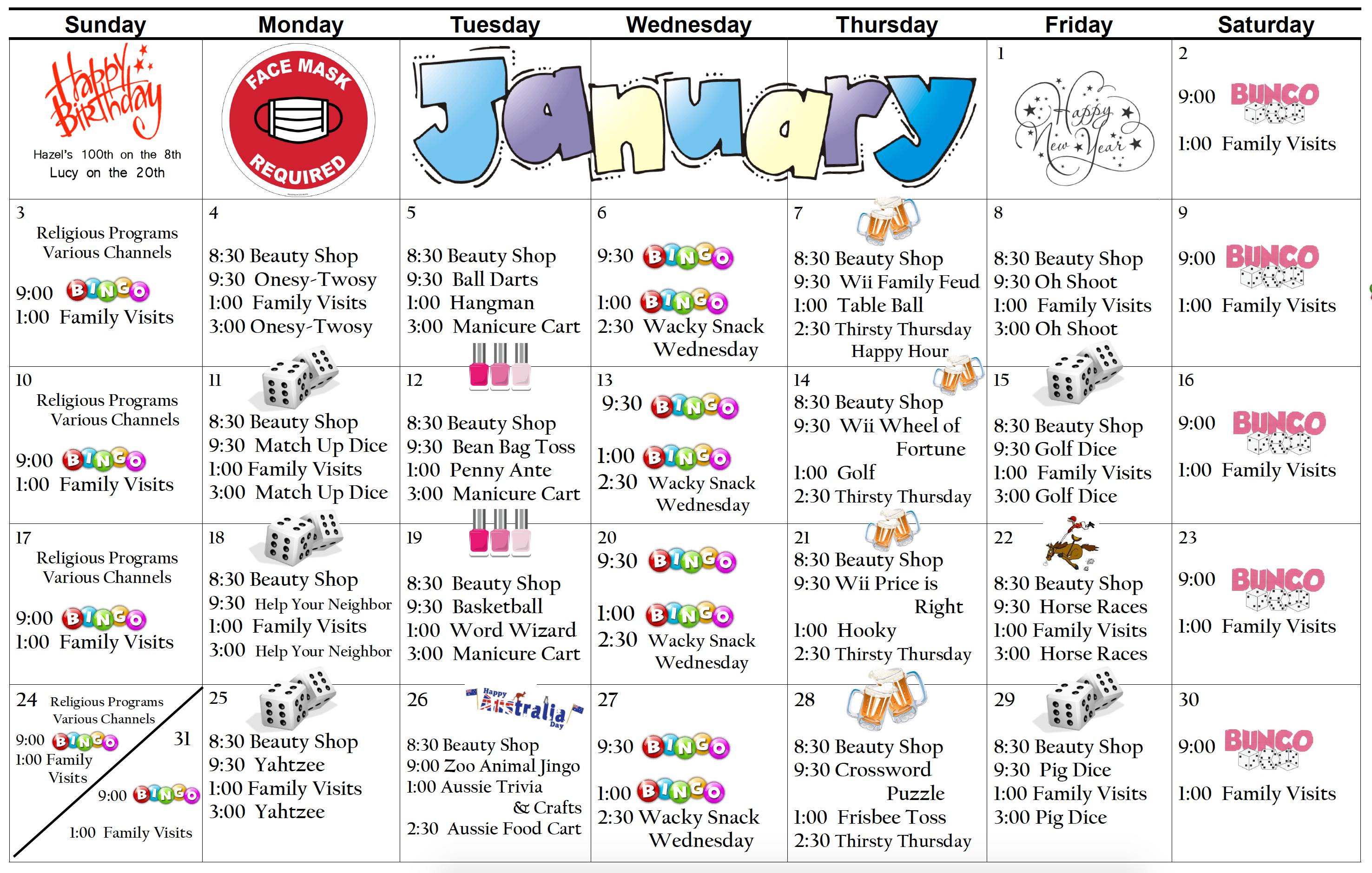 Pembilier Jan Activity Calendar