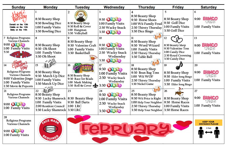 Pembilier February Calendar