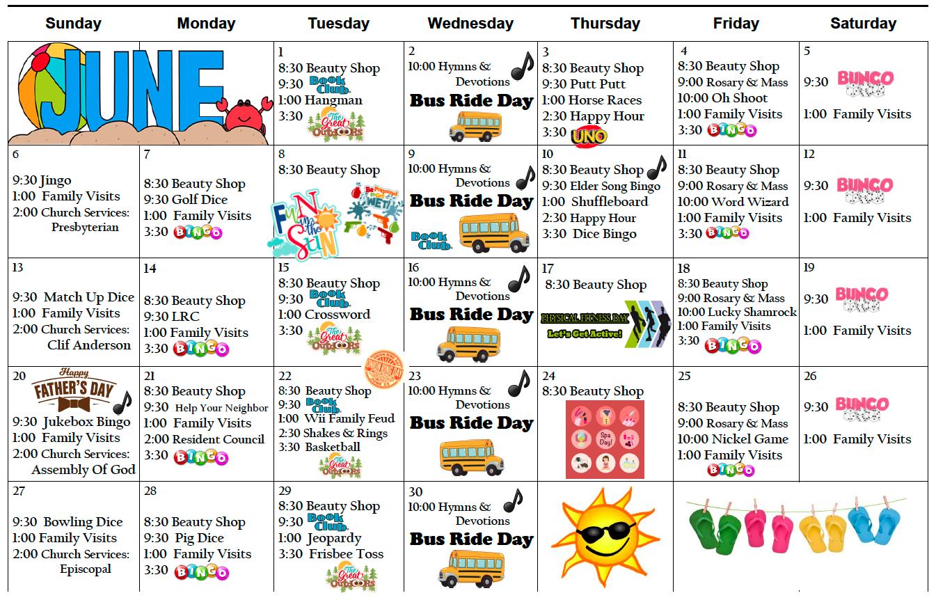 Pembilier June Activity Calendar