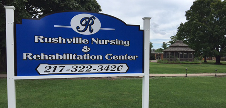rushville nursing and rehabilitation center sign outside in front of the facility