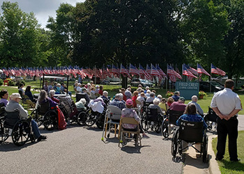 veterans at a flag ceremony