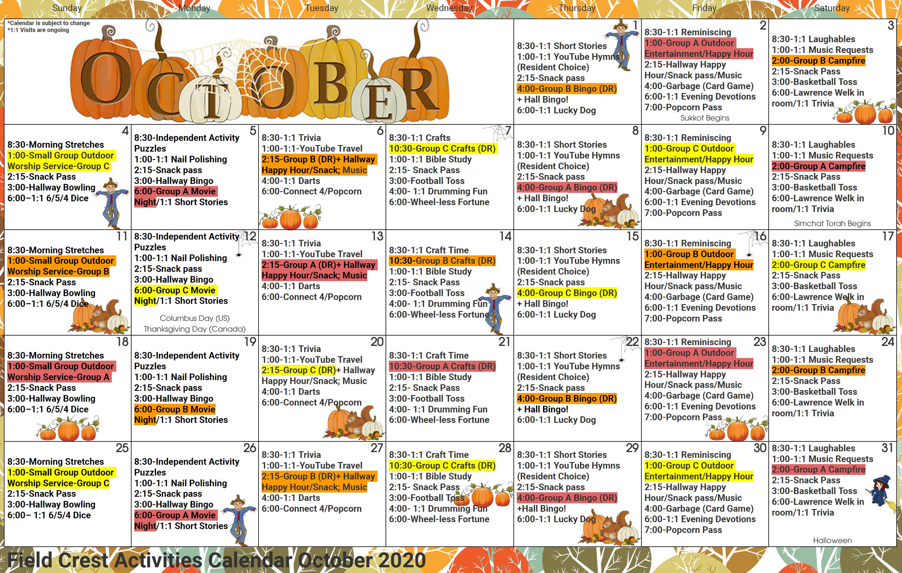 Fieldcrest Oct Calendar