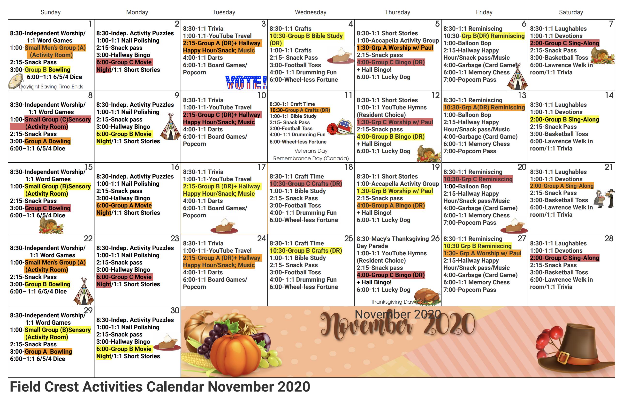 Field Crest November 2020 Calendar