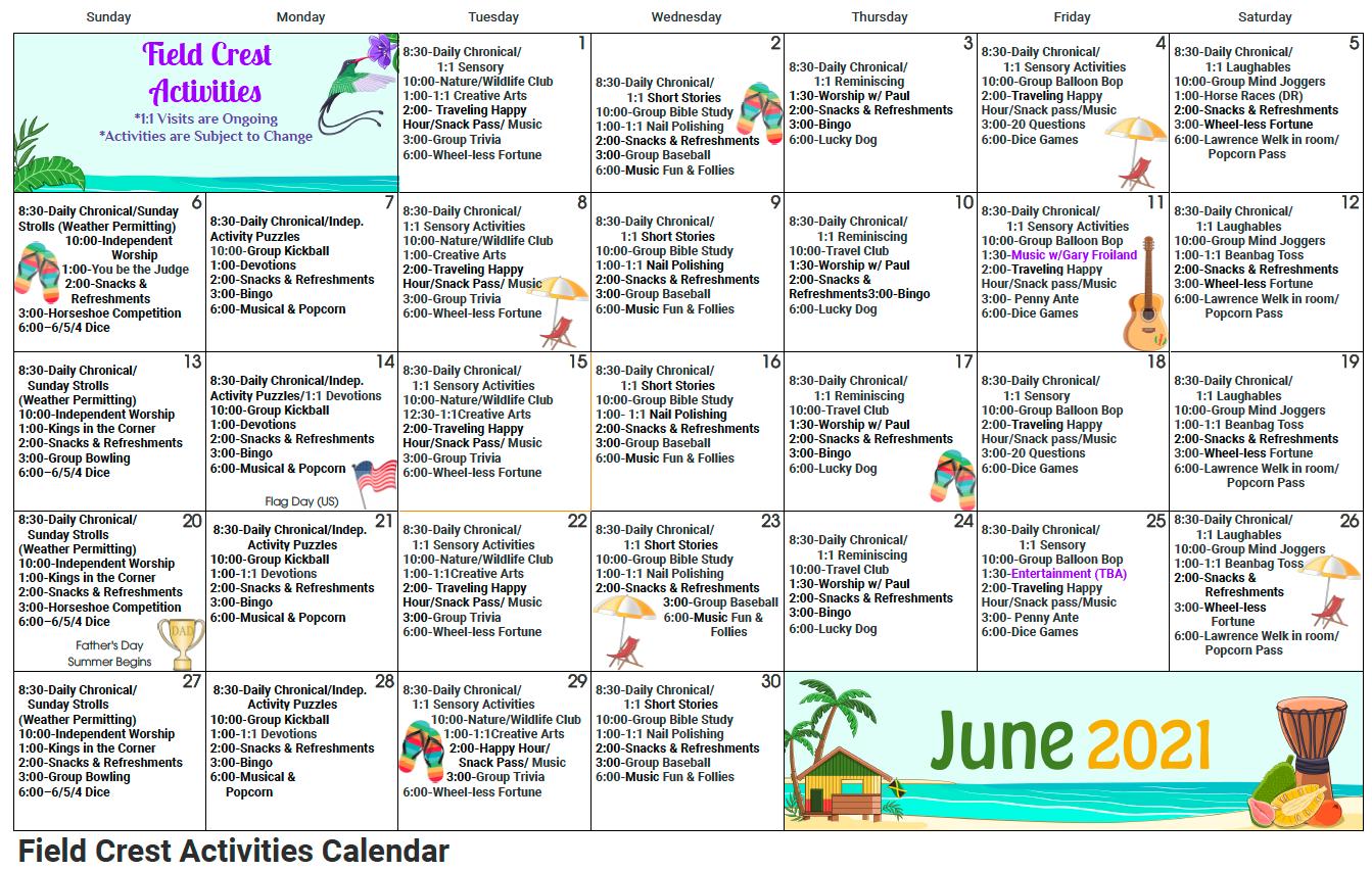 Fieldcrest June Activity Calendar