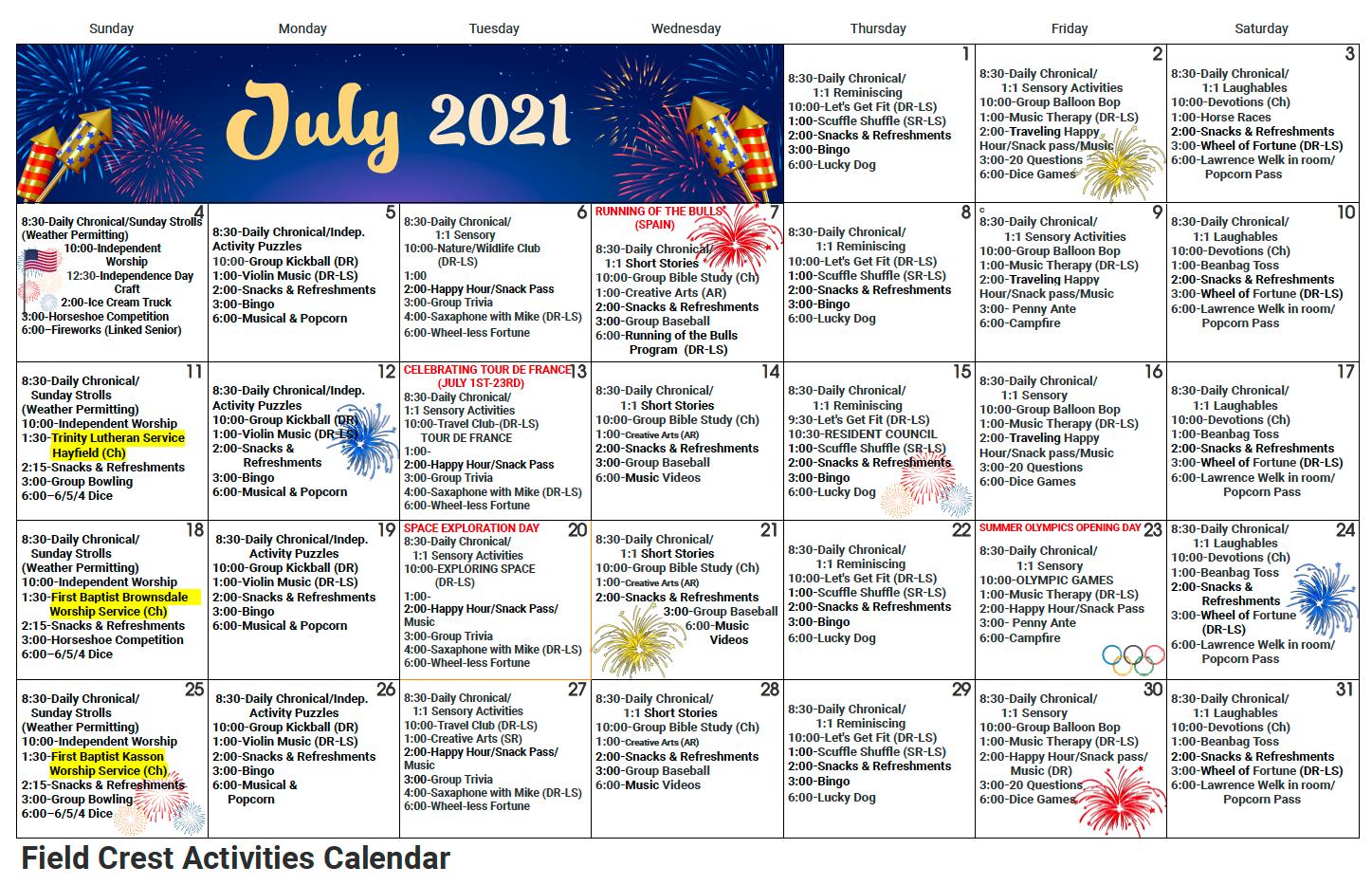 Field Crest July Activity Calendar