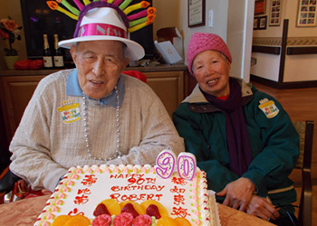 resident celebrating his 90th birthday