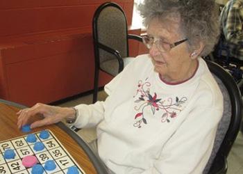 resident playing bingo