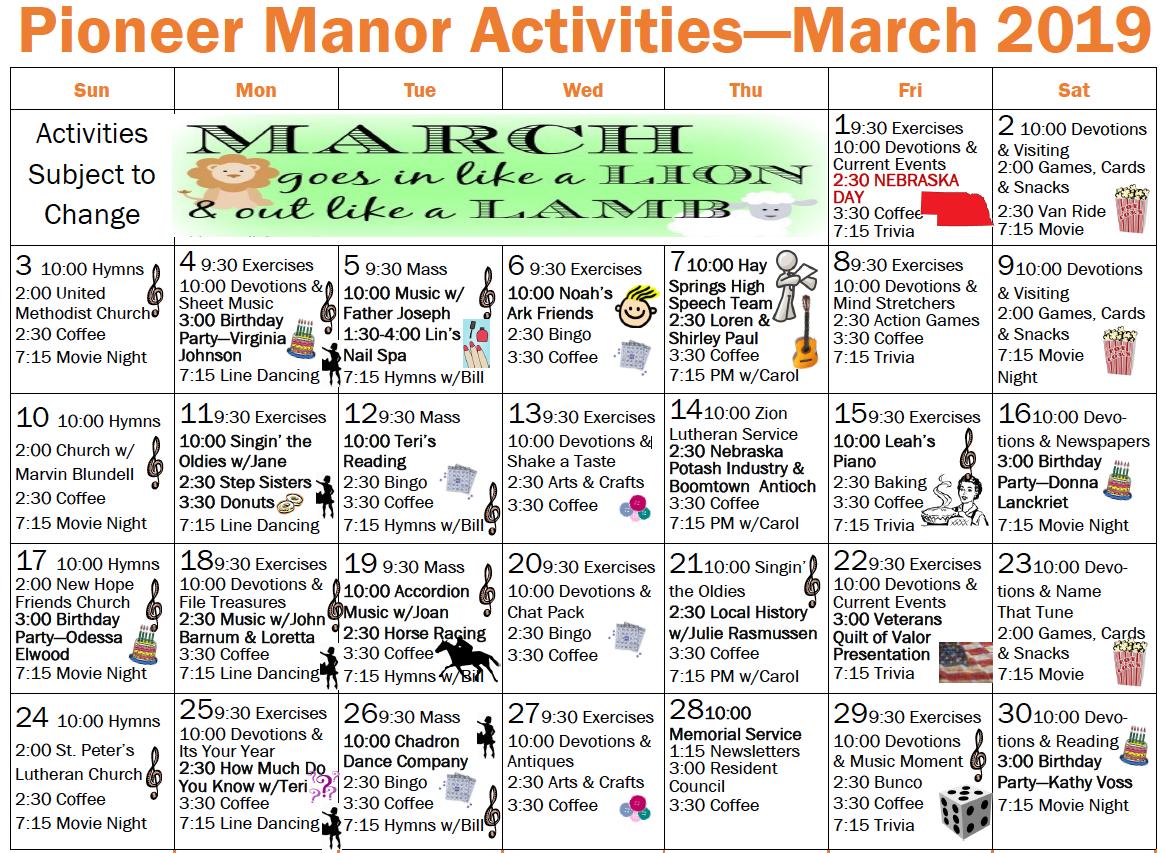 Pioneer Manor March calendar