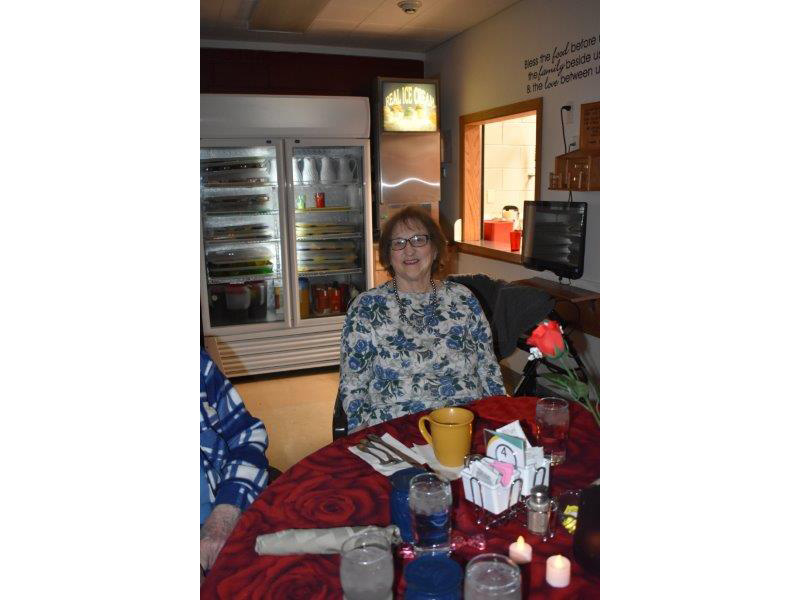 residents smiling at a christmas party