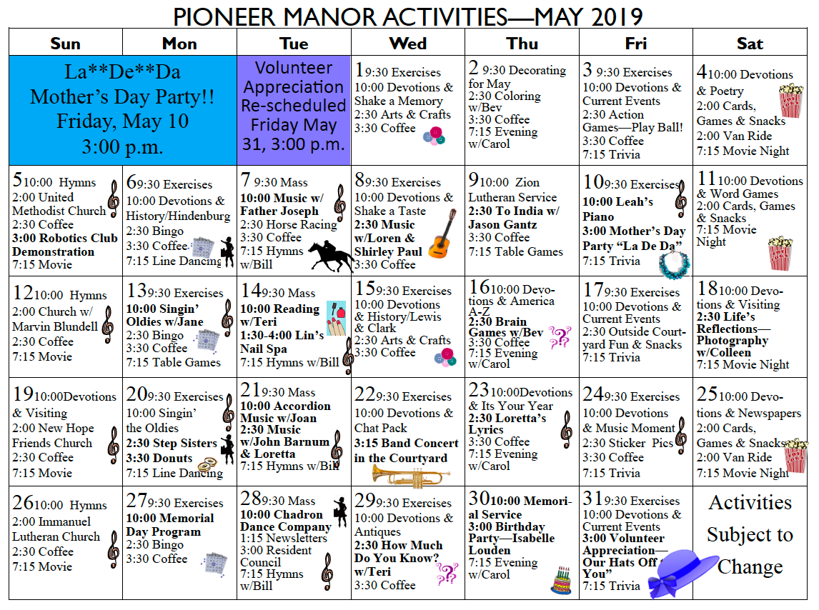 Pioneer Manor May calendar