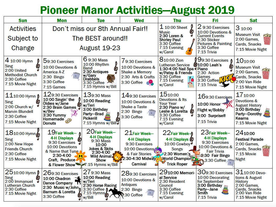 Pioneer Manor August 2019 calendar