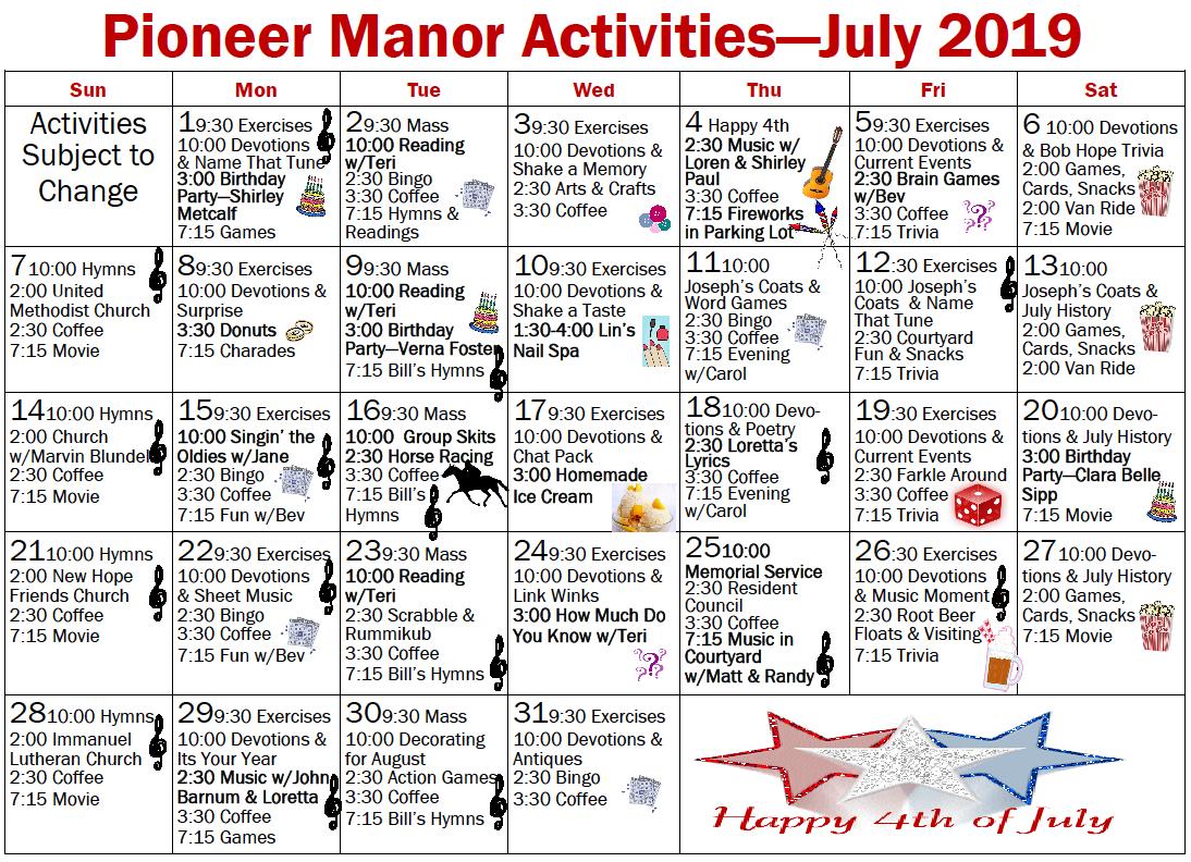 Pioneer Manor July calendar