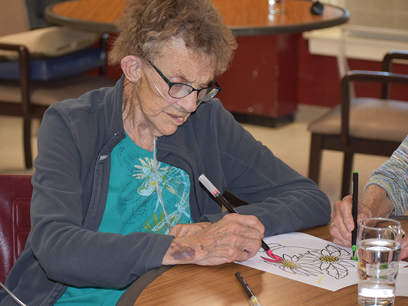 resident drawing at the facility