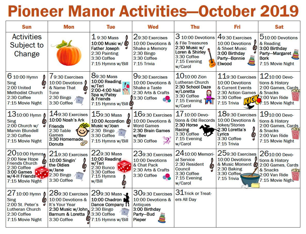 Pioneer Manor October 2019 activity calendar