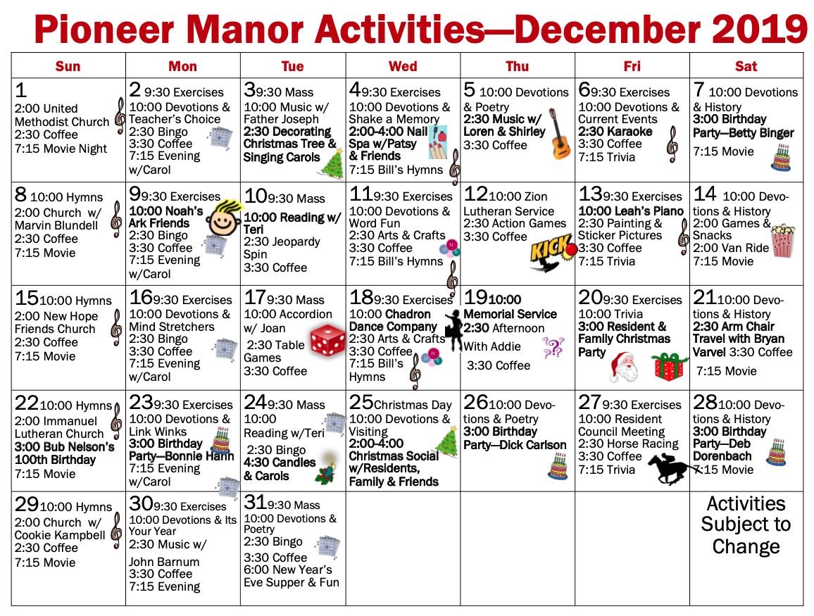 December 2019 Pioneer Manor calendar