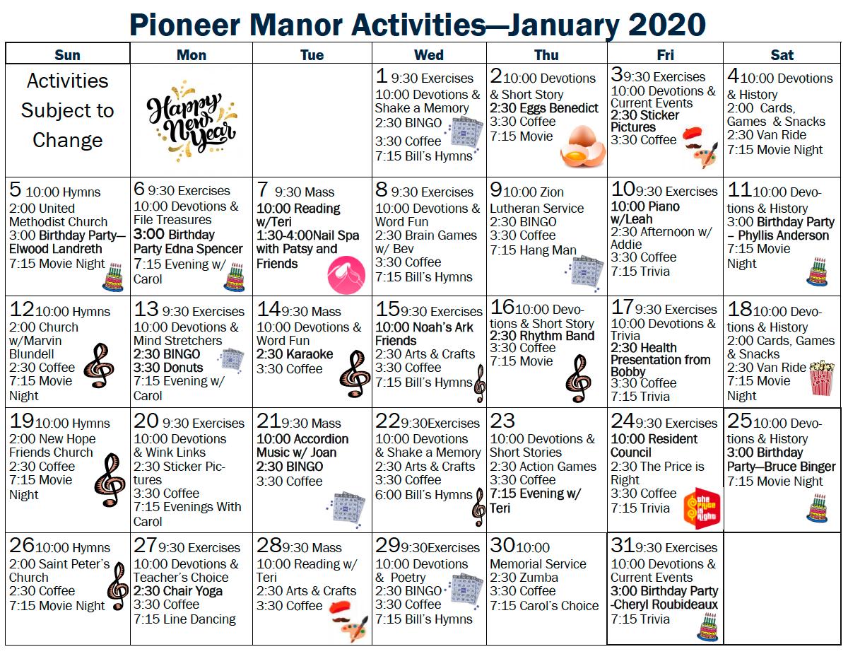 Pioneer Manor January calendar