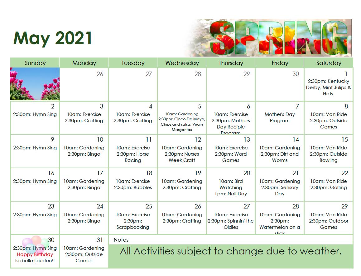 May 2021 Calendar For Pioneer Manor Nursing Home