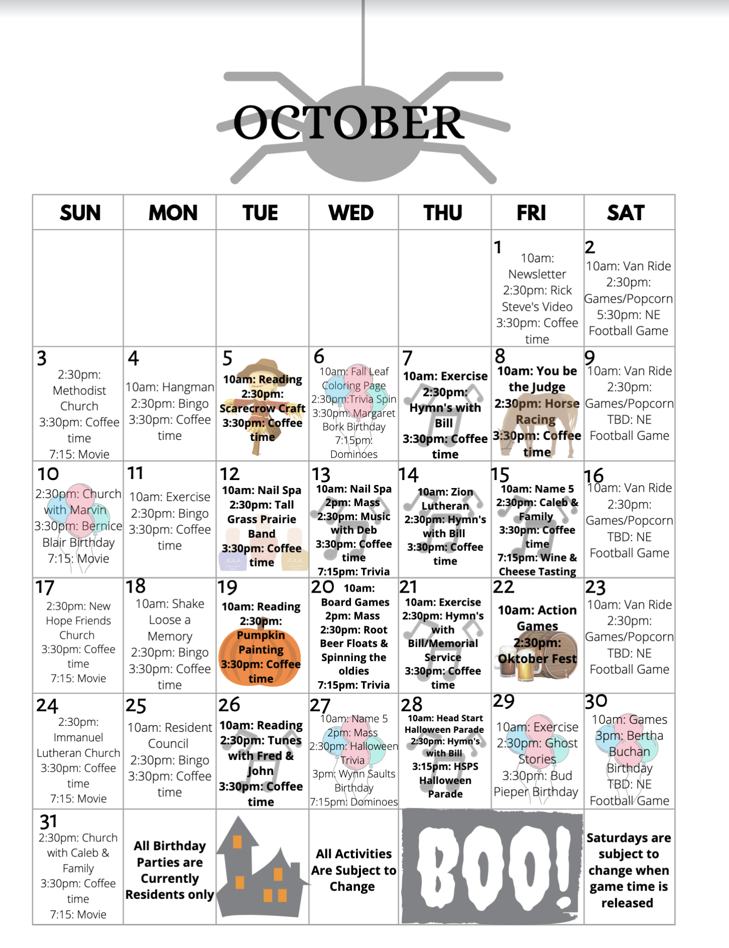 October 2021 Pioneer Manor Calendar