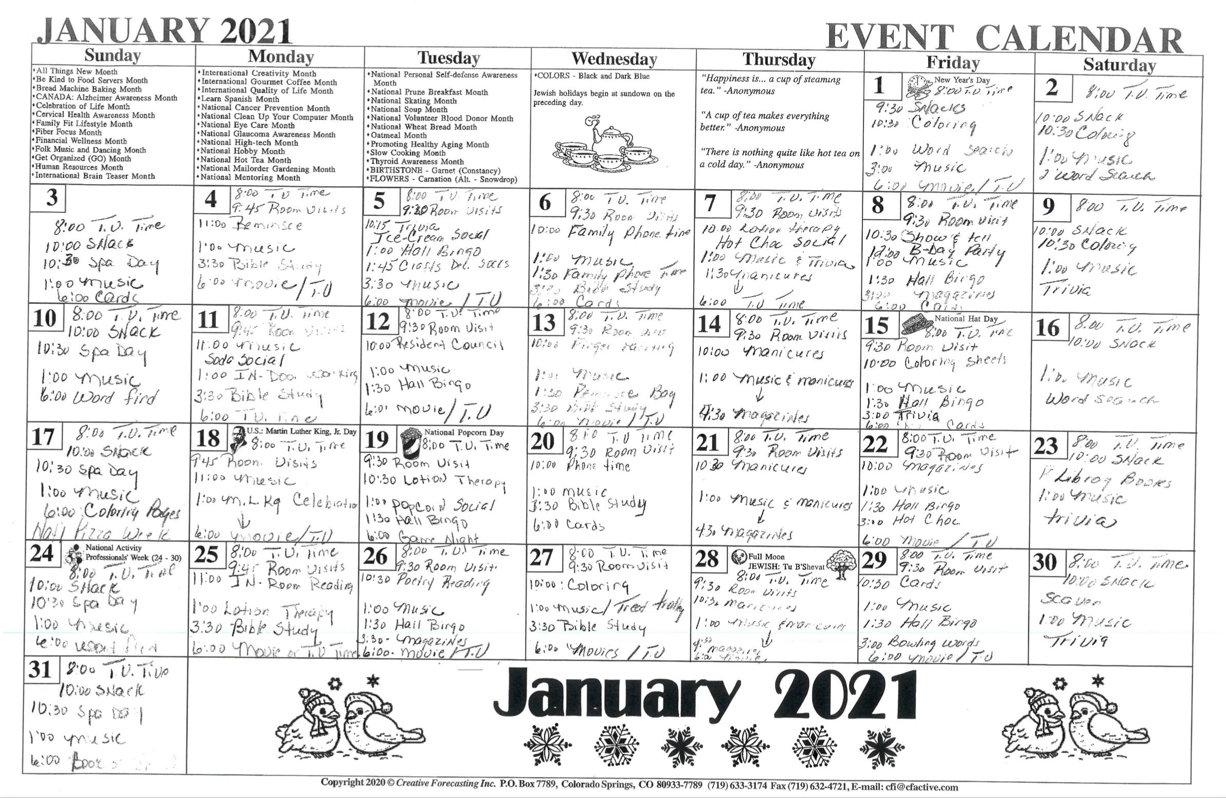 January 2021 Woodview Calendar