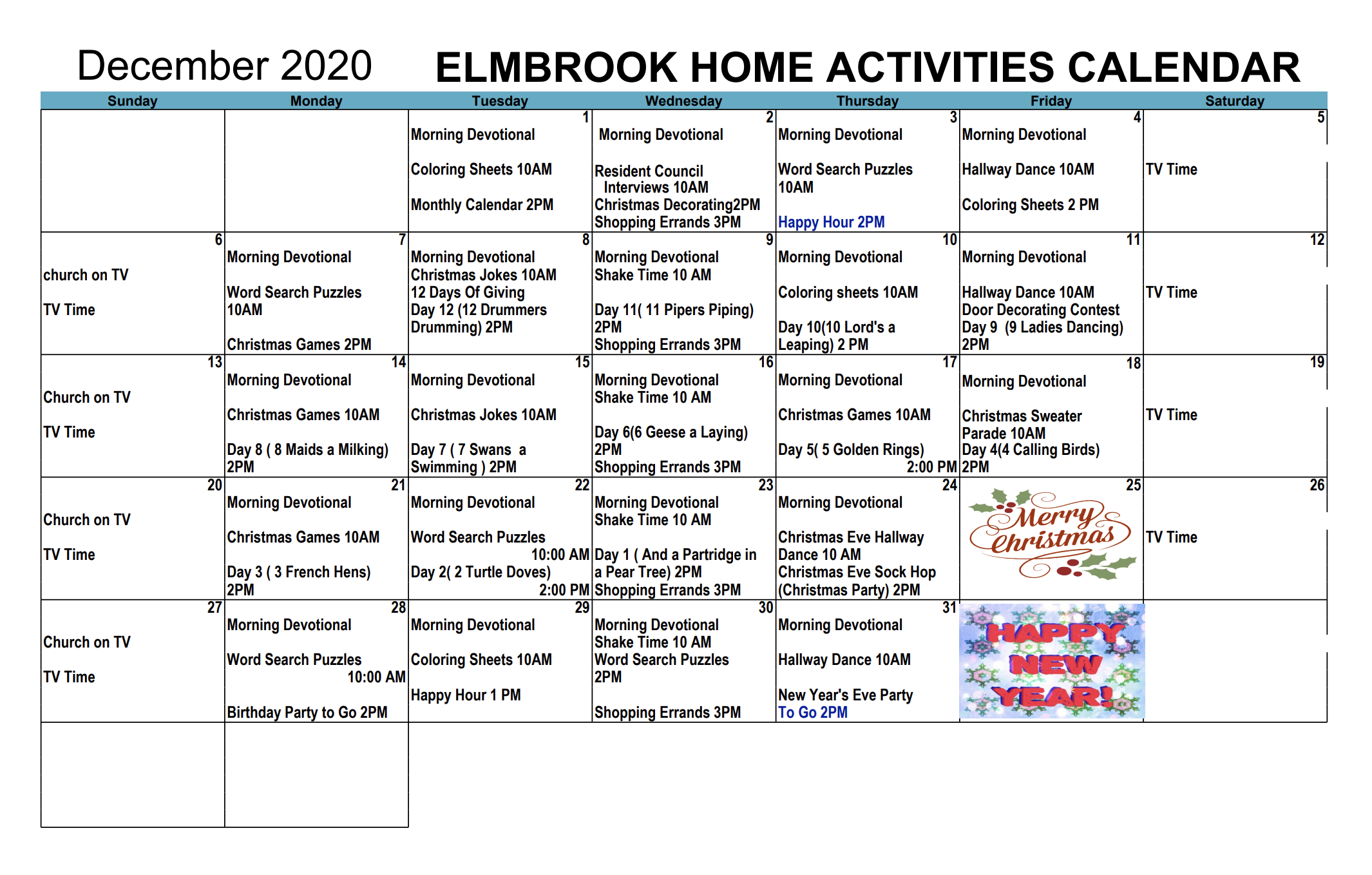 Elmbrook 2020 Calendar For December