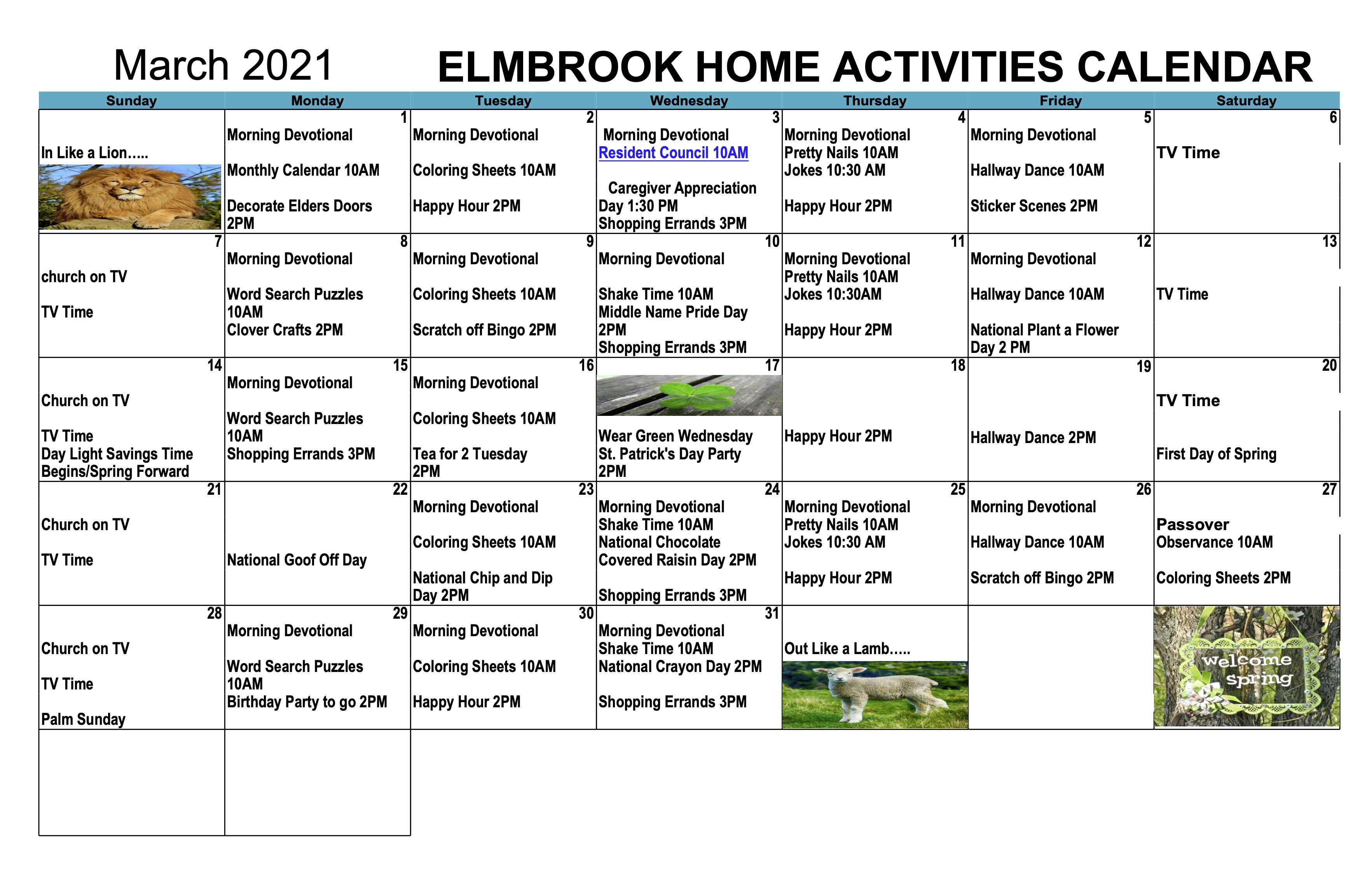 March Elmbrook Home Calendar For 2021