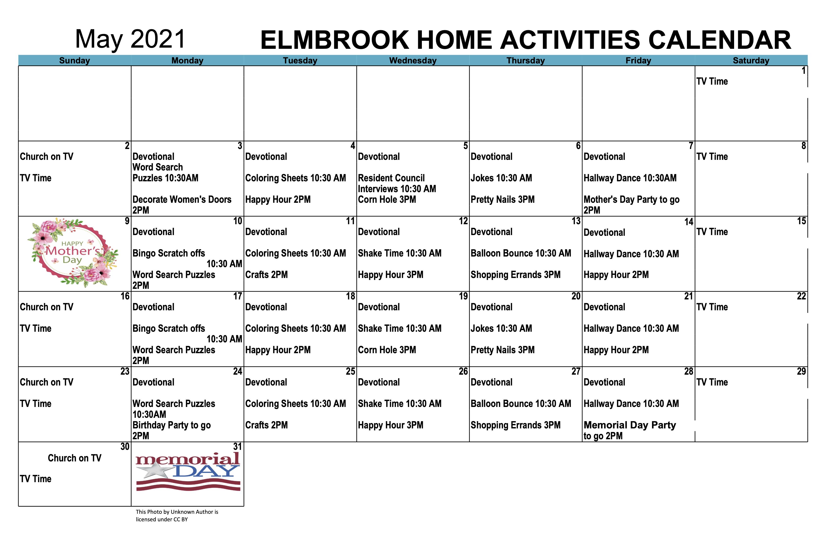 Elmbrook Home May 2021 Calendar