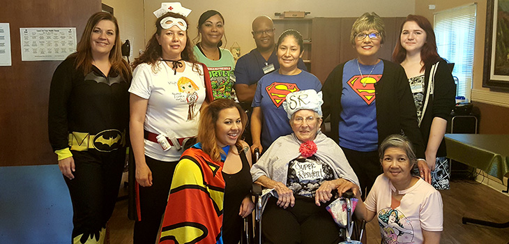 members of folsom care center in costume
