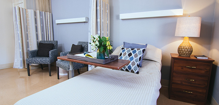 Private room at Fianna Hills with a seating area for family and visitors