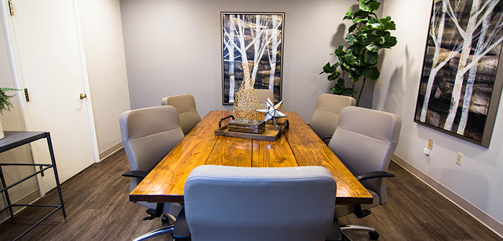 Meeting room with modern accessories and a live plant in the corner