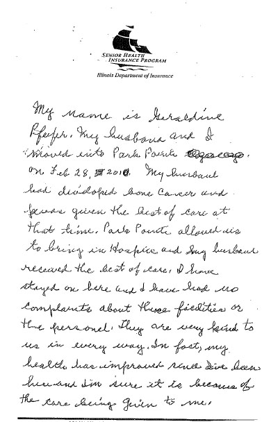 Written testimonial about the wonderful care her husband received at the community