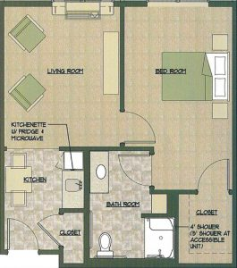 One Small Bedroom Floor Plan With Kitchen Living Room Bedroom And Walk In Closet The Pointe At Morris