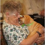 Dog kissing a residents face