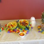 Luau table decorations and fruit bowls