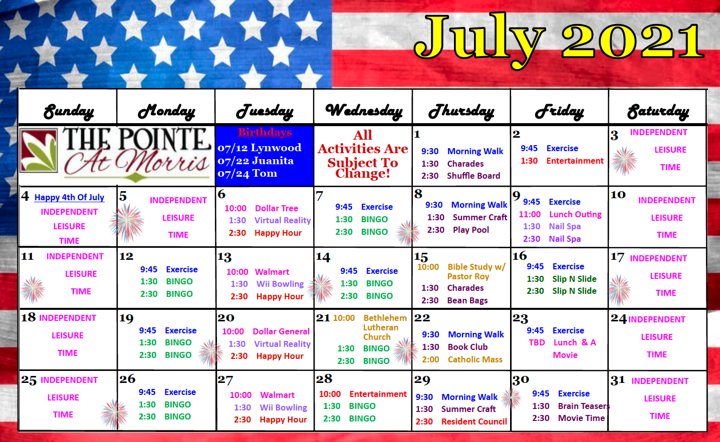 July 2021 Activity Calendar For The Pointe At Morris