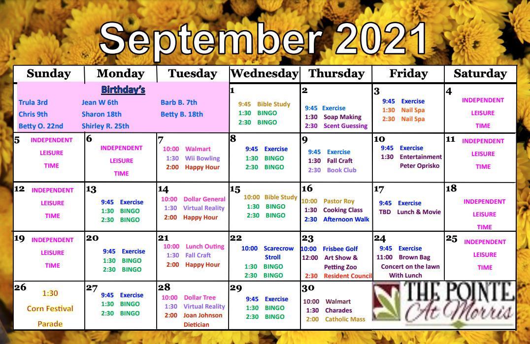Morris September Activity Calendar