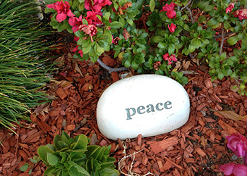 peace rock in garden