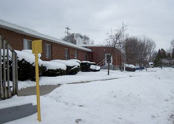 View of the snowy exterior of Argentine Care Center