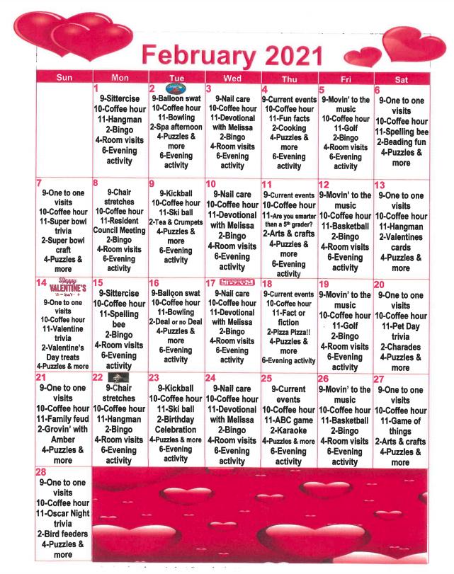 Argentine February Calendar