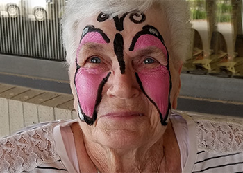 wheatlands resident with face paint on