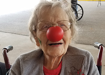 wheatlands resident with a red nose