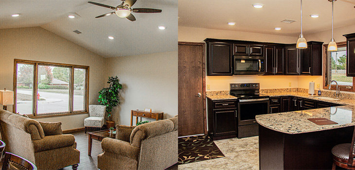 Wheatlands independent living home's kitchen and living room