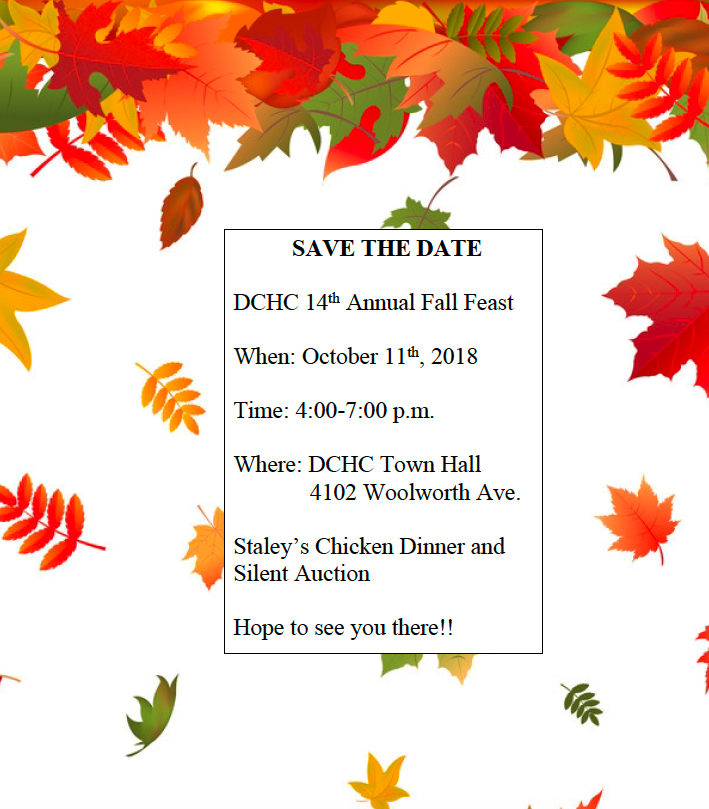 DCHC 14th Annual Fall Feast October 11th at 4pm