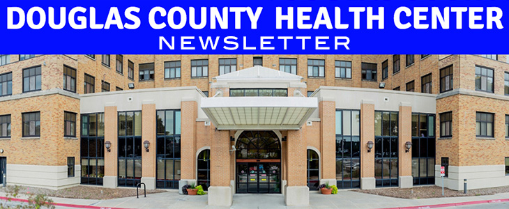 Douglas County Health Center newsletter banner with the building