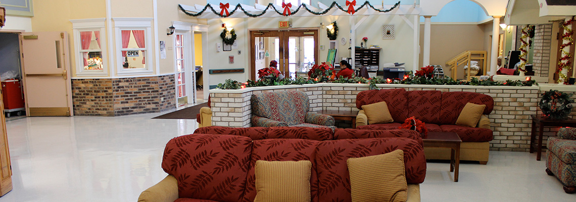 Tri-State Nusing home lobby decorated for the holidays