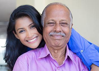 granddaughter visiting her grandpa