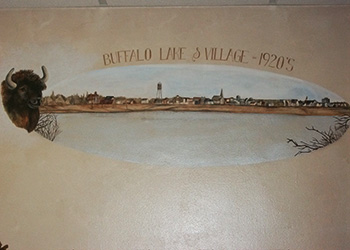 Historical drawing of Buffalo Lake and village from the 1920's