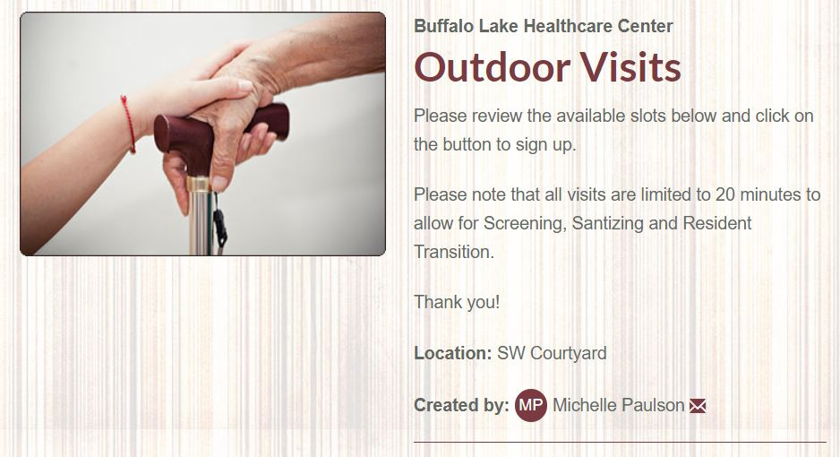 Outdoor visits button