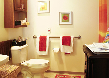 Bathroom with handicapped railing and shelves above the toilet