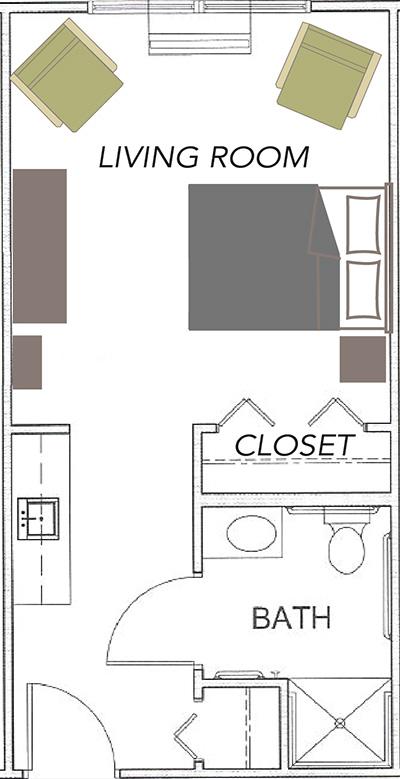 Studio floor plan showing the living room, closet, and bathroom area