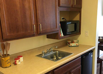 Sink, microwave and cabinets